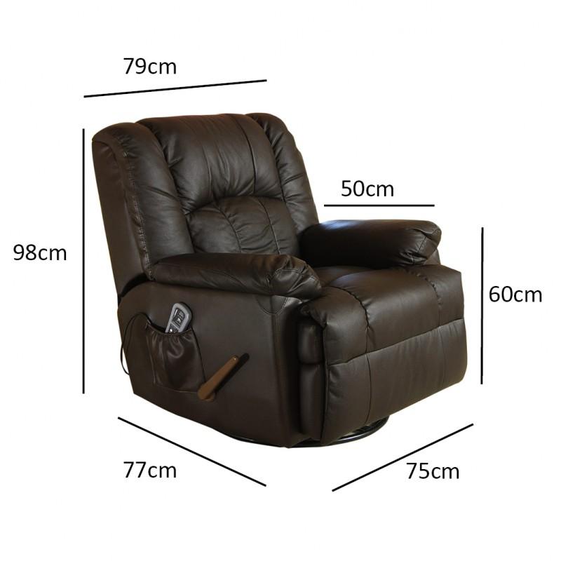 ecode sofa de masaje balancin giratorio en piel con calor lumbar negro